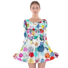 Colorful Diamonds Dream Long Sleeve Skater Dress by DanaeStudio