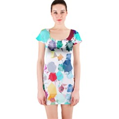 Colorful Diamonds Dream Short Sleeve Bodycon Dress by DanaeStudio