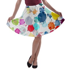 Colorful Diamonds Dream A Line Skater Skirt by DanaeStudio