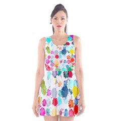 Colorful Diamonds Dream Scoop Neck Skater Dress by DanaeStudio