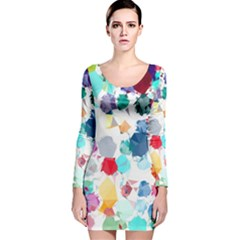 Colorful Diamonds Dream Long Sleeve Velvet Bodycon Dress by DanaeStudio