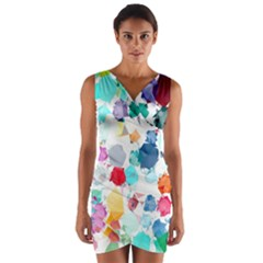 Colorful Diamonds Dream Wrap Front Bodycon Dress by DanaeStudio