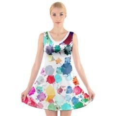 Colorful Diamonds Dream V Neck Sleeveless Dress by DanaeStudio