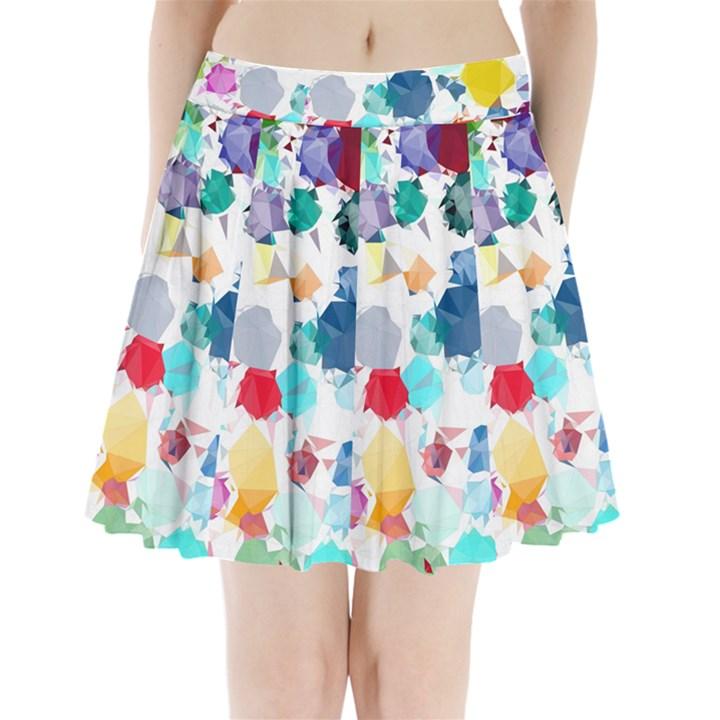 Colorful Diamonds Dream Pleated Mini Skirt