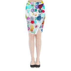 Colorful Diamonds Dream Midi Wrap Pencil Skirt by DanaeStudio
