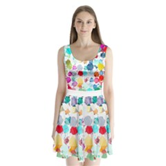 Colorful Diamonds Dream Split Back Mini Dress  by DanaeStudio