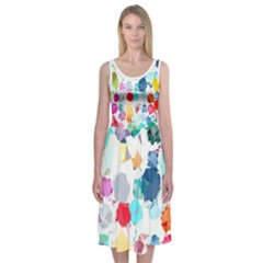 Colorful Diamonds Dream Midi Sleeveless Dress by DanaeStudio