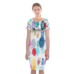 Colorful Diamonds Dream Classic Short Sleeve Midi Dress by DanaeStudio