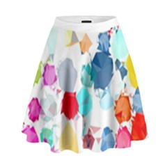 Colorful Diamonds Dream High Waist Skirt by DanaeStudio