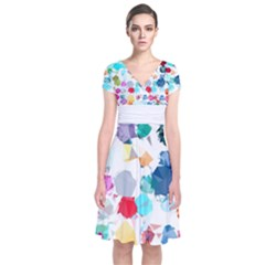 Colorful Diamonds Dream Short Sleeve Front Wrap Dress by DanaeStudio