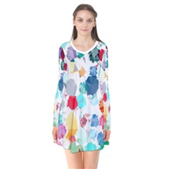Colorful Diamonds Dream Long Sleeve V Neck Flare Dress by DanaeStudio