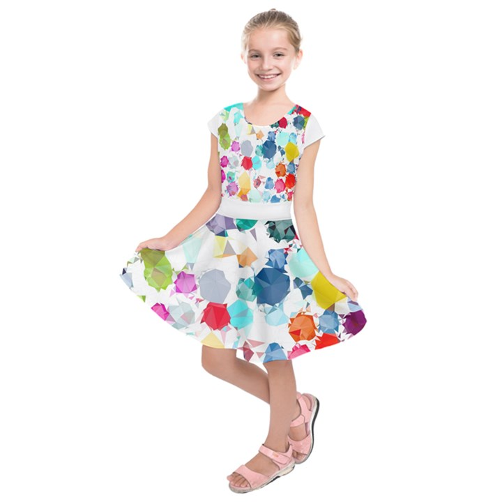 Colorful Diamonds Dream Kids  Short Sleeve Dress
