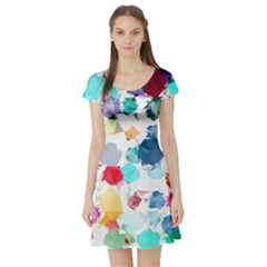 Colorful Diamonds Dream Short Sleeve Skater Dress