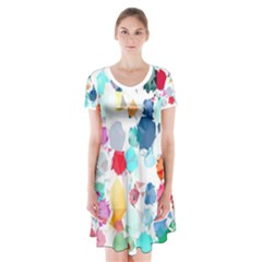 Colorful Diamonds Dream Short Sleeve V Neck Flare Dress