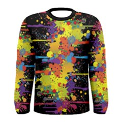 Crazy Multicolored Double Running Splashes Men s Long Sleeve Tee by EDDArt