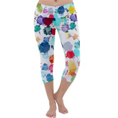 Colorful Diamonds Dream Capri Yoga Leggings by DanaeStudio