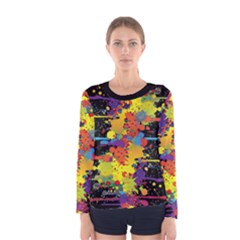 Crazy Multicolored Double Running Splashes Women s Long Sleeve Tee by EDDArt