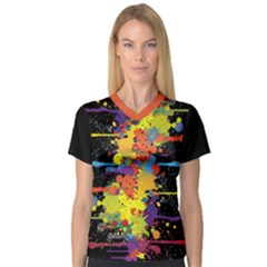 Crazy Multicolored Double Running Splashes Women s V Neck Sport Mesh Tee by EDDArt