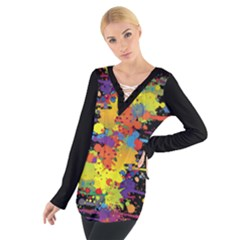 Crazy Multicolored Double Running Splashes Women s Tie Up Tee by EDDArt