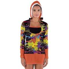 Crazy Multicolored Double Running Splashes Women s Long Sleeve Hooded T Shirt