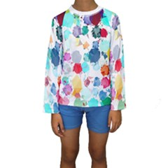 Colorful Diamonds Dream Kids  Long Sleeve Swimwear by DanaeStudio
