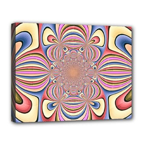 Pastel Shades Ornamental Flower Canvas 14  x 11