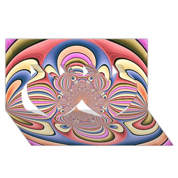 Pastel Shades Ornamental Flower Twin Hearts 3D Greeting Card (8x4)