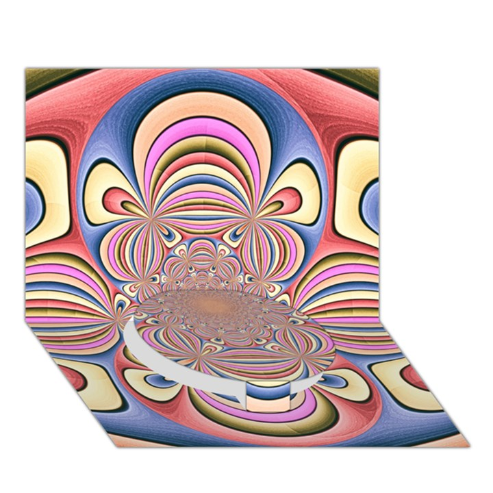 Pastel Shades Ornamental Flower Circle Bottom 3D Greeting Card (7x5)