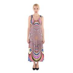 Pastel Shades Ornamental Flower Sleeveless Maxi Dress