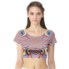 Pastel Shades Ornamental Flower Short Sleeve Crop Top (tight Fit)