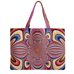 Pastel Shades Ornamental Flower Zipper Mini Tote Bag