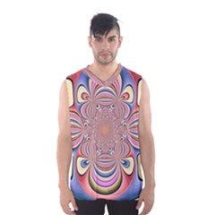 Pastel Shades Ornamental Flower Men s Basketball Tank Top