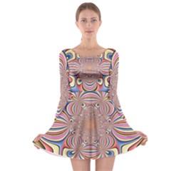 Pastel Shades Ornamental Flower Long Sleeve Skater Dress