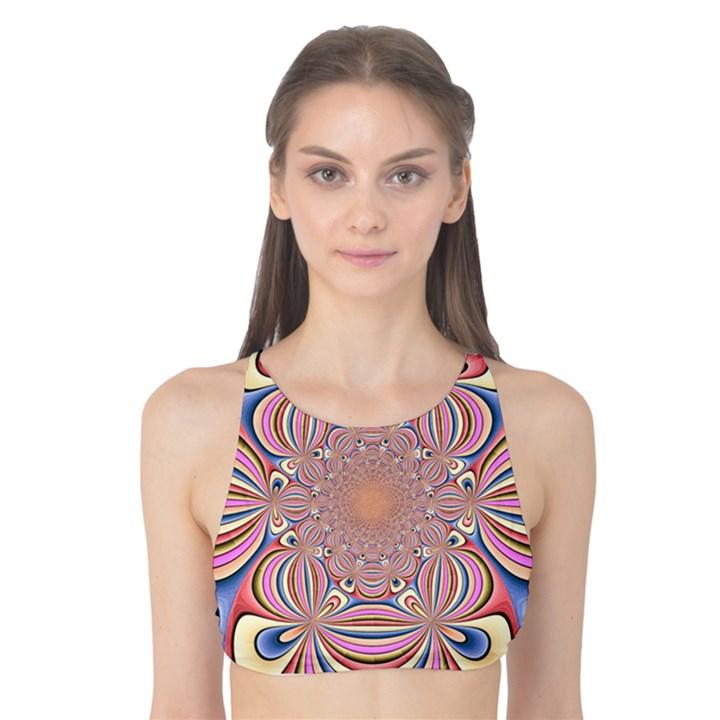 Pastel Shades Ornamental Flower Tank Bikini Top