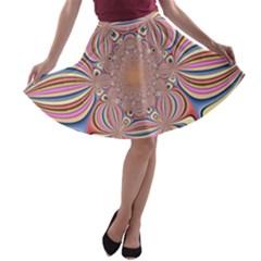 Pastel Shades Ornamental Flower A-line Skater Skirt