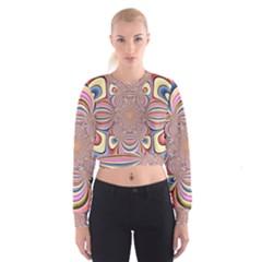 Pastel Shades Ornamental Flower Women s Cropped Sweatshirt