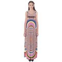 Pastel Shades Ornamental Flower Empire Waist Maxi Dress