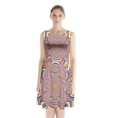 Pastel Shades Ornamental Flower Sleeveless Chiffon Waist Tie Dress