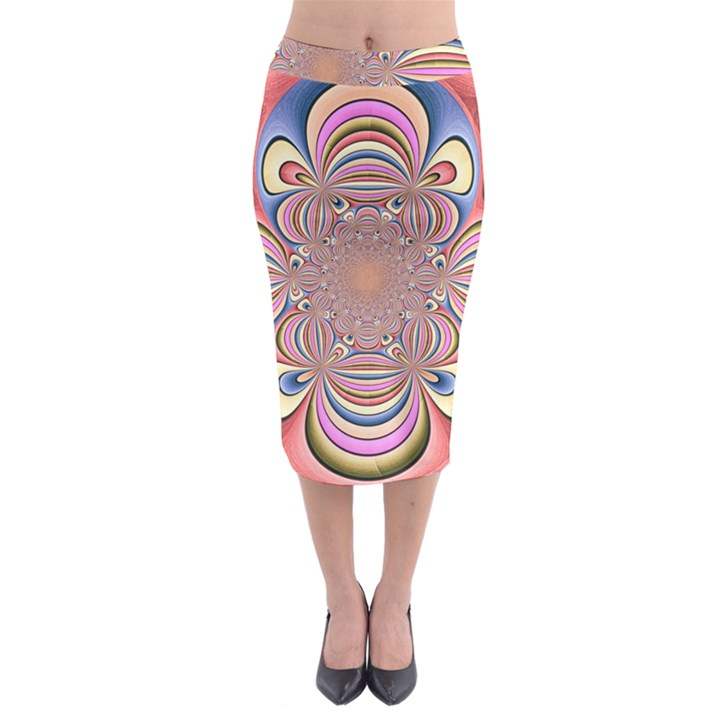 Pastel Shades Ornamental Flower Midi Pencil Skirt