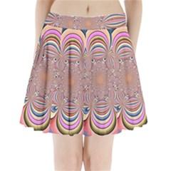 Pastel Shades Ornamental Flower Pleated Mini Skirt