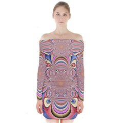 Pastel Shades Ornamental Flower Long Sleeve Off Shoulder Dress by designworld65