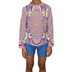 Pastel Shades Ornamental Flower Kids  Long Sleeve Swimwear by designworld65