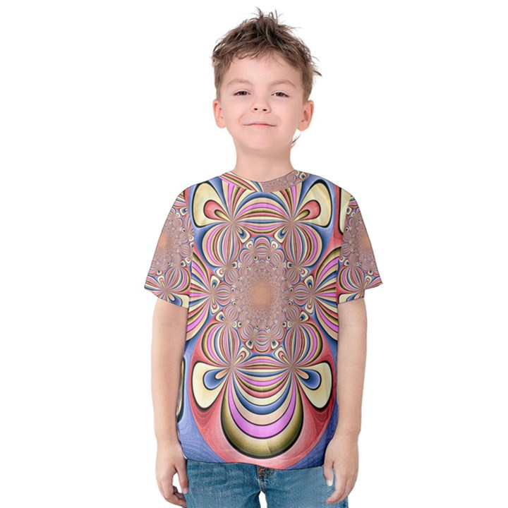 Pastel Shades Ornamental Flower Kids  Cotton Tee