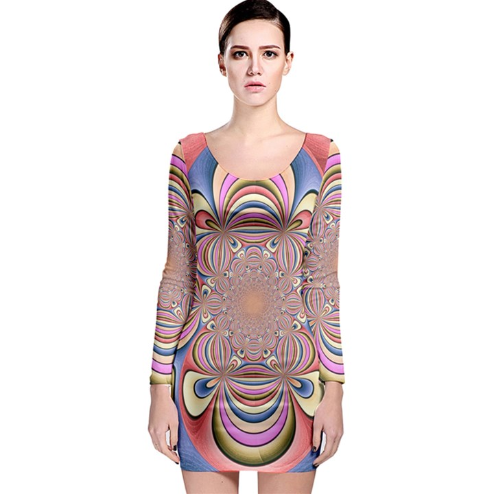 Pastel Shades Ornamental Flower Long Sleeve Bodycon Dress
