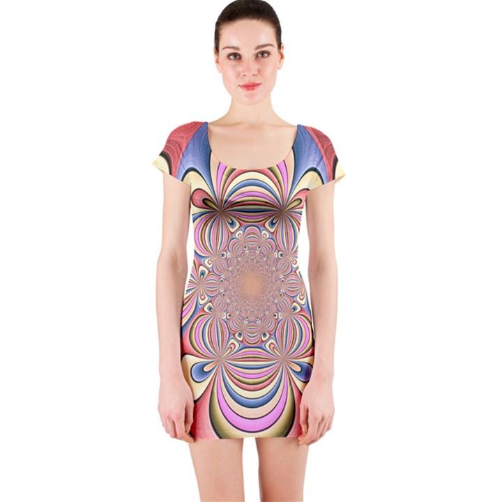 Pastel Shades Ornamental Flower Short Sleeve Bodycon Dress