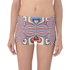 Pastel Shades Ornamental Flower Reversible Boyleg Bikini Bottoms