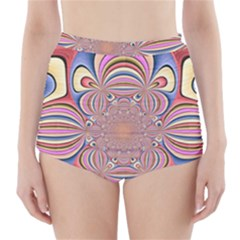 Pastel Shades Ornamental Flower High Waisted Bikini Bottoms