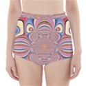 Pastel Shades Ornamental Flower High-Waisted Bikini Bottoms View1