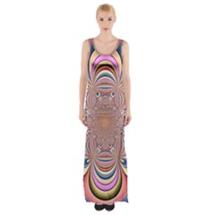 Pastel Shades Ornamental Flower Maxi Thigh Split Dress