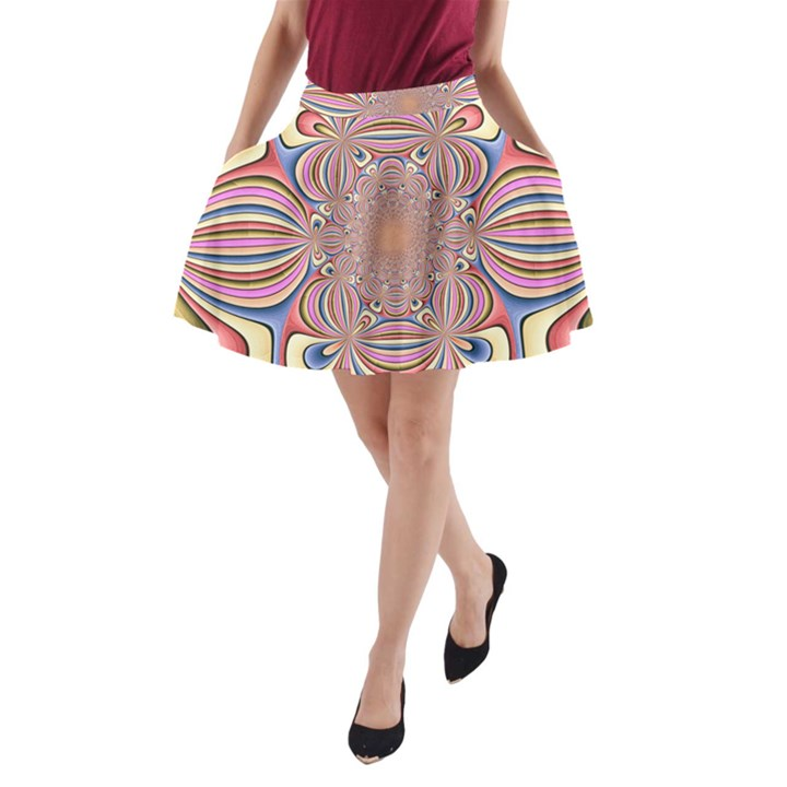 Pastel Shades Ornamental Flower A-Line Pocket Skirt